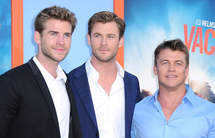 When he posed alongside his genetically-blessed brothers Liam and Luke at the Premiere Of the film 'Vacation'.
