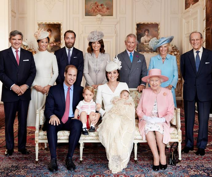 Talk about a family picture! Both sides of Charlotte's famous family were present at her christening, with the Middletons and Royals in attendance.