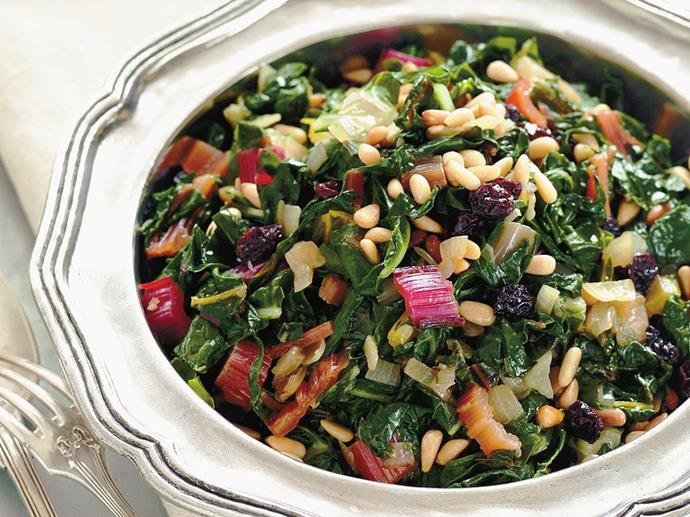 """This [Rainbow silver beet with pine nuts and raisins](http://www.foodtolove.com.au/recipes/rainbow-silver-beet-with-pine-nuts-garlic-and-raisins-21855 target=""""_blank"""") is packed with gut-health goodness."""