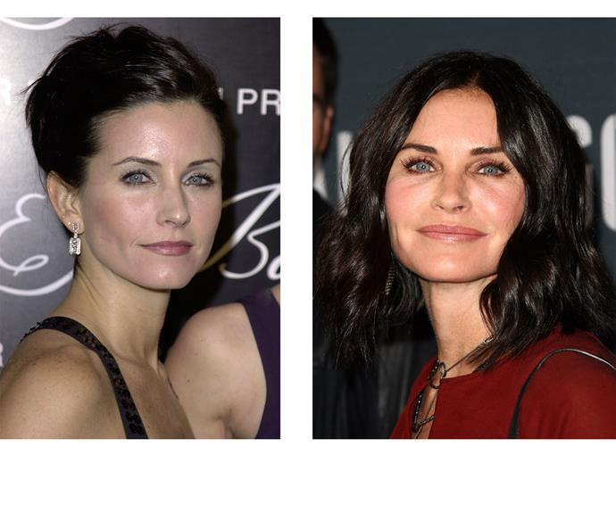 Then and now: Courteney in the height of her Friends hey-day and looking fresh-faced years later.