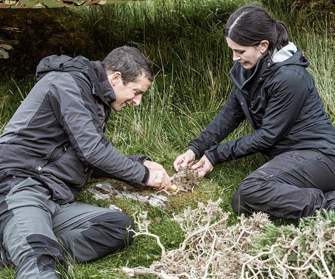 The mother-of-one showed off her hunting skills as she appeared on Running Wild With Bear Grylls.