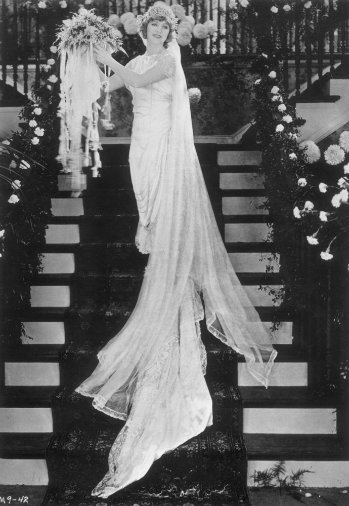 circa 1920: American film actress Mary Pickford (1893 - 1979), radiant in a wedding dress. (Photo by General Photographic Agency/Getty Images)