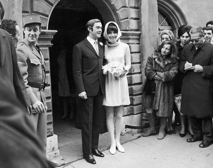 18th January 1969, Belgian actor Audrey Hepburn (1929-1993) and her new husband Andrea Dotti leave the Town Hall after the civil ceremony at Moreges. (Photo by Getty Images/Getty Images)