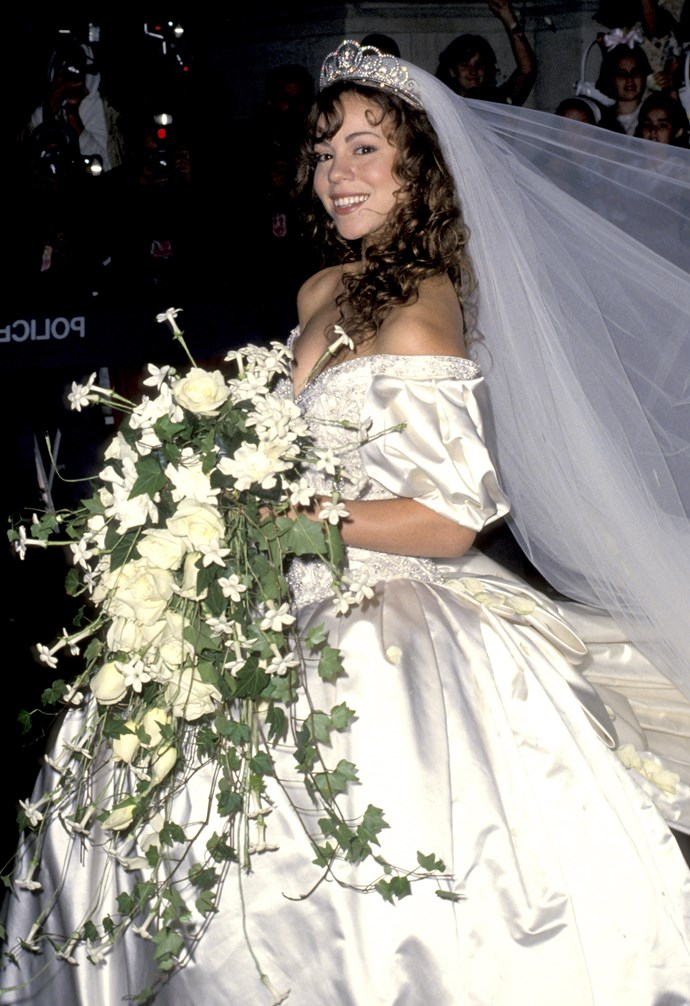 Mariah Carey at her wedding to Tommy Mottola (Photo by Ron Galella, Ltd./WireImage)