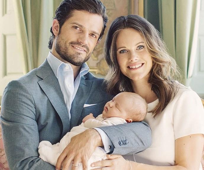 Prince Carl Philip, Duke of Värmland, and Princess Sofia with their son, Prince Alexander of Sweden.