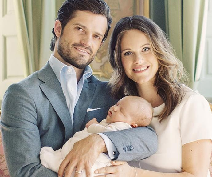 Prince Carl Philip, Duke of Värmland, and Princess Sofia with their son, Prince Alexander of Sweden.