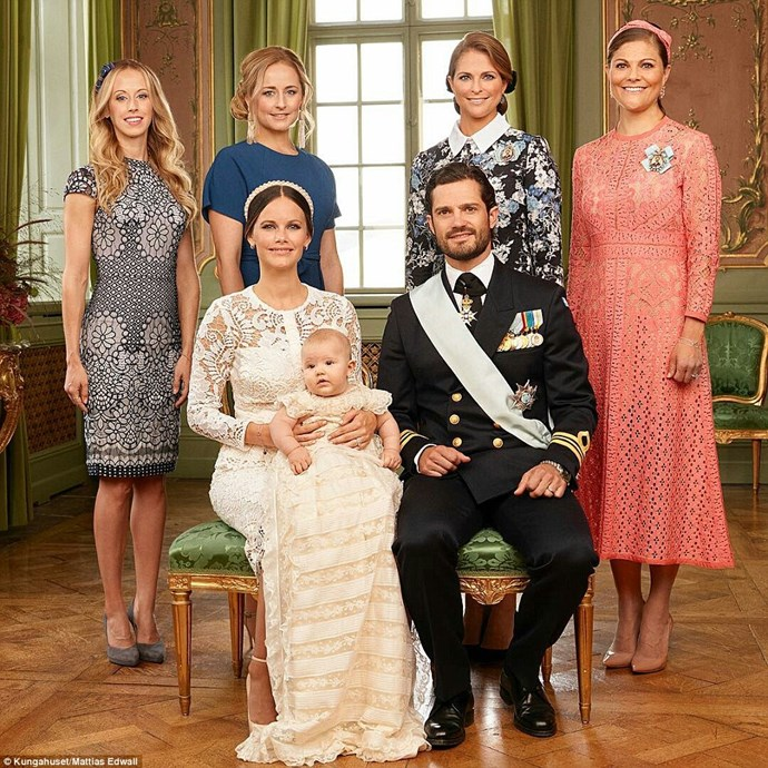 Princess Sofia and Prince Carl Philip and Prince Alexander are pictured with godmothers, Sara Hellqvist, Lina Frejd, Princess Madeleine of Sweden (not a godmother to Alexander), and Crown Princess Victoria of Sweden. PHOTO: Kungahuset / Mattias Edwall