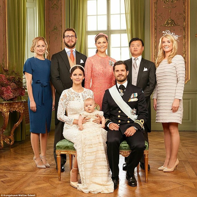 Princess Sofia and Prince Carl Philip are pictured with the young prince and his godparents (back row left to right): Lina Frejd, Victor Magnuson, Crown Princess Victoria, Jan-åke Hansson, and Wendy Larsson. PHOTO: Kungahuset / Mattias Edwall