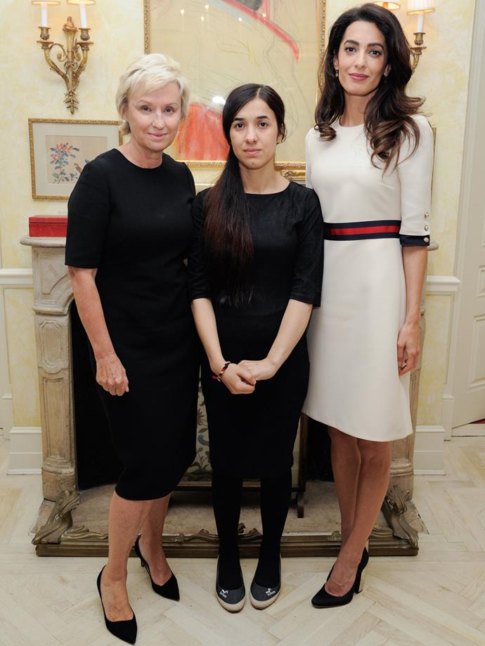 Tina Brown, Nadia Basee Taha and Amal Clooney attend the Women In The World reception in New York City.