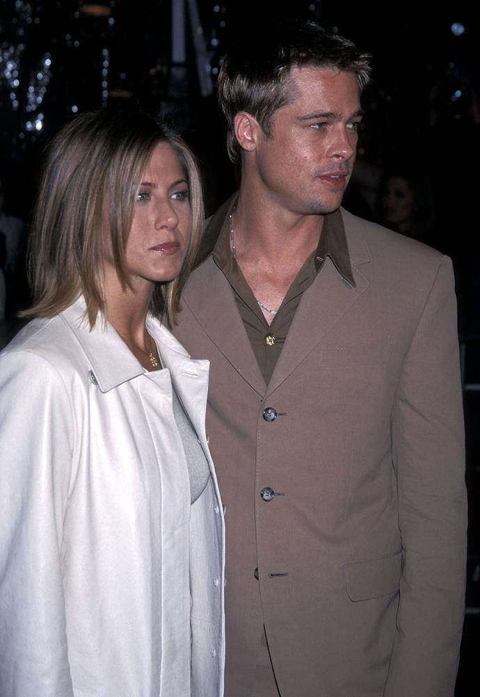 "**January 2005** After five years of marriage Brad Pitt and Jennifer Aniston announced their separation and speculation that Angelina and Brad were together continued to grow. In March of that year Aniston officially filed for divorce, citing ""irreconcilable differences"" in court documents."