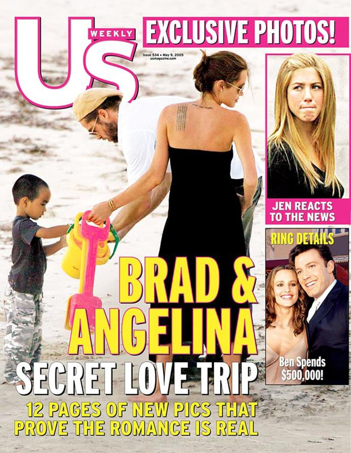 **April 2005** Photos were published confirming Brangelina is a real thing. The images of the couple on holiday in Kenya playing on a beach with Jolie's adopted son Maddox was proof enough that the relationship had been going on for quite some time, but both stars still officially denied they were an item.