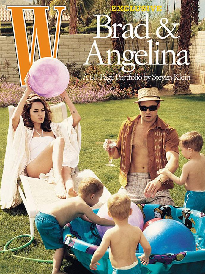 Angelina and Brad featured in *W magazine* in a spread titled Domestic Bliss, where they were portrayed as a 1960s family complete with kids. The photo shoot took place in March of 2005, the same month Aniston had filed for divorce. The shoot's concept was apparently Brad's idea.