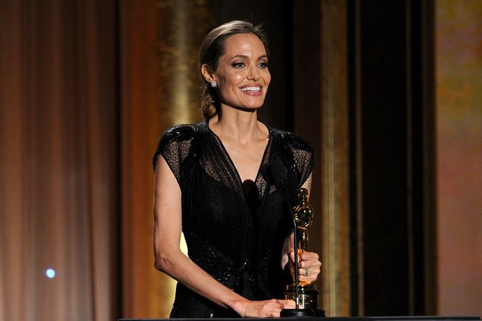 "**November 2013** A supportive Brad was by his partner's side as she was honoured with the Jean Hersholt Humanitarian Award at the Governors Awards.  In her acceptance speech Angelina said of Brad: ""My love, your support and guidance make everything that I do possible."""
