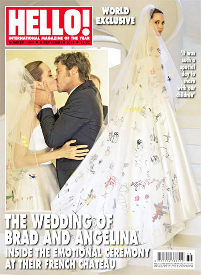 **August 2014** The couple finally wed during a secret ceremony at the couple's French property, Chateau Miraval, on August 23. Angelina wore a custom Versace gown and veil that was adorned with colourful scribbles from her children. The older boys, Maddox and Pax, walked Angelina down the aisle while Zahara and Vivienne played flower girls and Shiloh and Knox were ring bearers.