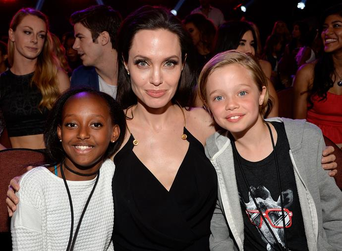 Angelina Jolie with daughters Zahara and Shiloh.