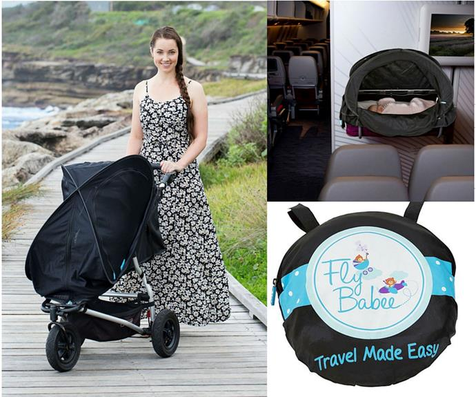 "[Fly Babee](http://flybabee.com.au/|target=""_blank""), $99.95 is the world's first multi-purpose sleep and sun cover for all strollers and prams. It also covers airline bassinets to help your baby sleep when flying. It's 100% breathable, providing a safe environment for your baby when out and about and on the move. The unique dome shape allows for amazing cross-flow ventilation making it an essential item for getting out and about every day with your baby. A must-have for flying and travel."