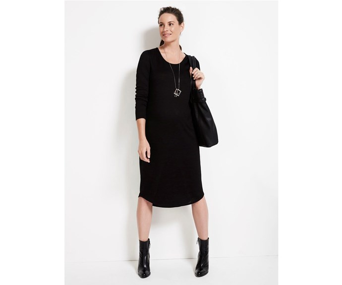 """*Sussan Long Sleeve Maternity Dress* Stylish yet comfortable, this [Long Sleeve Maternity Dress](http://www.sussan.com.au/ target=""""_blank""""), $99.95, is a must-have for your wardrobe. You can dress it up or down and the dress is also perfect for layering."""