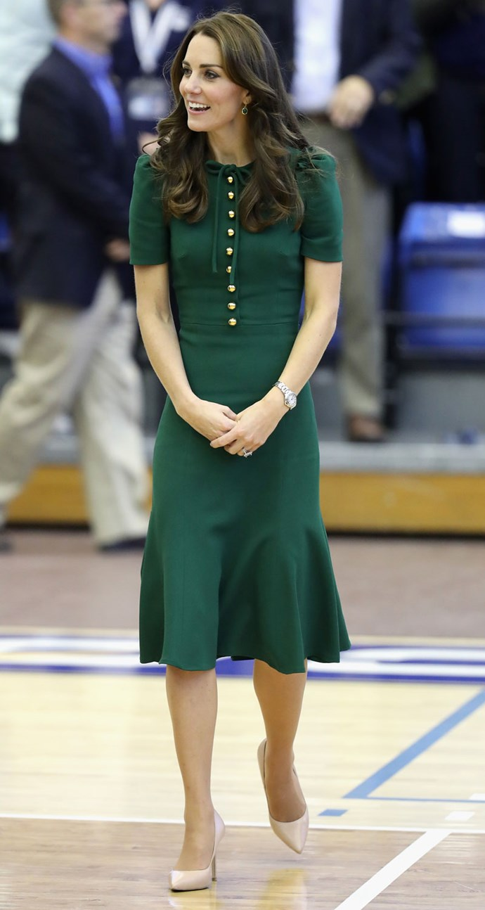 Duchess Catherine's dress even working while spectating a volleyball game that same day.