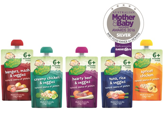 """CATEGORY: MOST POPULAR BABY FOOD. The [Rafferty's Garden](http://www.raffertysgarden.com.au/ target=""""_blank"""") range RRP $2.09 introduces a wider range of savoury flavours and is suitable from six months."""