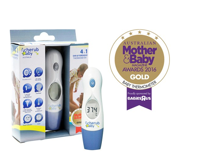 """CATEGORY: MOST POPULAR BABY THERMOMETER. The [Cherub Baby 4-in-1 Infrared Digital Ear And Forehead Thermometer](http://www.cherubbaby.com.au/ target=""""_blank"""") RRP $59.95 works without probe covers and is easy to operate, hygienic and comfortable."""