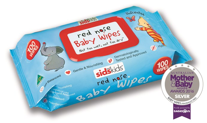 """CATEGORY: MOST POPULAR BABY WIPES (FRAGRANCE-FREE). [Aussie Wipes Red Nose Baby Wipes](http://www.aussiewipes.com.au/products/ target=""""_blank"""") RRP $5.59 are designed to come out of the pack individually and to strike the right balance between too wet and too dry. They are 100 percent Aussie made with 5 percent of sales from each packet donated to Sids and Kids."""