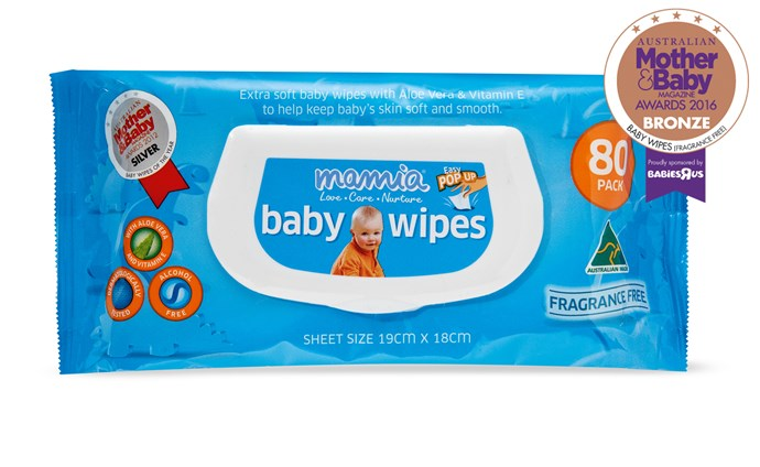 """CATEGORY: MOST POPULAR BABY WIPES (FRAGRANCE-FREE). [ALDI Mamia Baby Wipes Fragrance Free](http://www.aldi.com.au/ target=""""_blank"""") RRP $2.49 are extra soft and formulated with aloe vera and vitamin E to help keep baby's skin soft and smooth."""