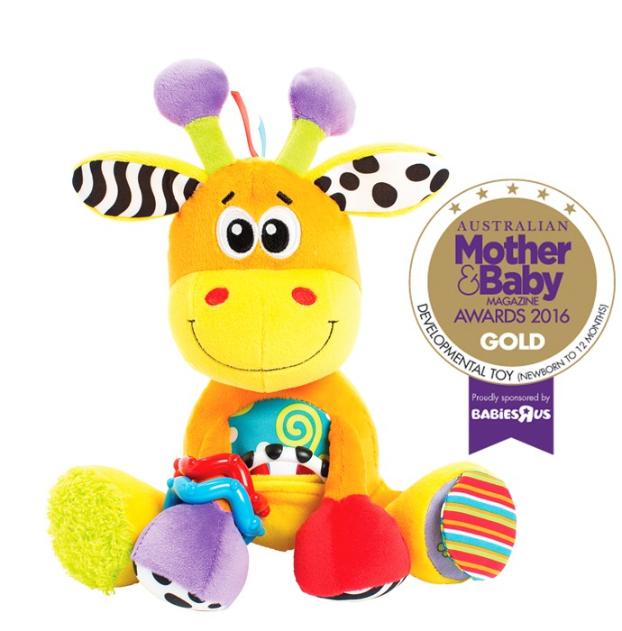 "CATEGORY: MOST POPULAR DEVELOPMENTAL TOY (NEWBORN - 12 MONTHS). The [Playgro Activity Friend Giraffe](https://www.playgro.com/|target=""_blank"") RRP $19 has a mirrored teething link, click-clack rings and textured fabric for auditory and sensory development."