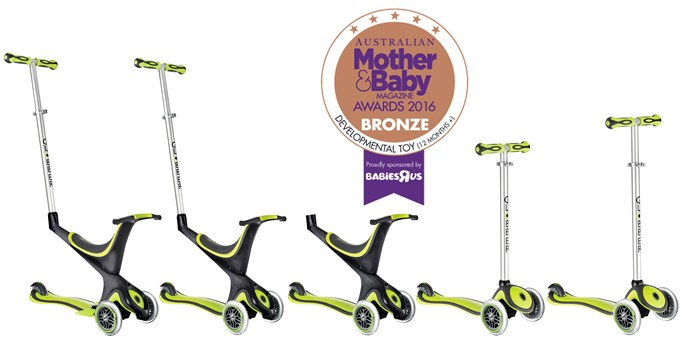 "CATEGORY: MOST POPULAR DEVELOPMENTAL TOY (12+ MONTHS). The [Globber My Free 5-in-1](https://www.globber.com.au/|target=""_blank"") RRP $199.00 is a great value-for-money scooter that comes equipped with a seat, footrest and handle to last through the ages."