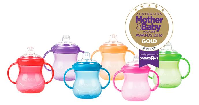 Nuby No-Spill Twin Handle Silicone Spout cup, $8.99 Unique soft silicone spouts and straws are easy to use, hold and clean.