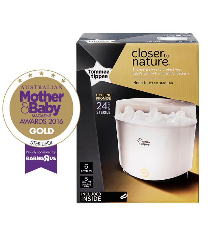 """CATEGORY: MOST POPULAR STERILISER. The Tommee Tippee closer to nature [Electric Steam Steriliser](http://www.tommeetippee.com.au/ target=""""_blank"""") RRP $150 has a fast five-minute sterilisation cycle and then keeps the contents sterile for 24 hours."""