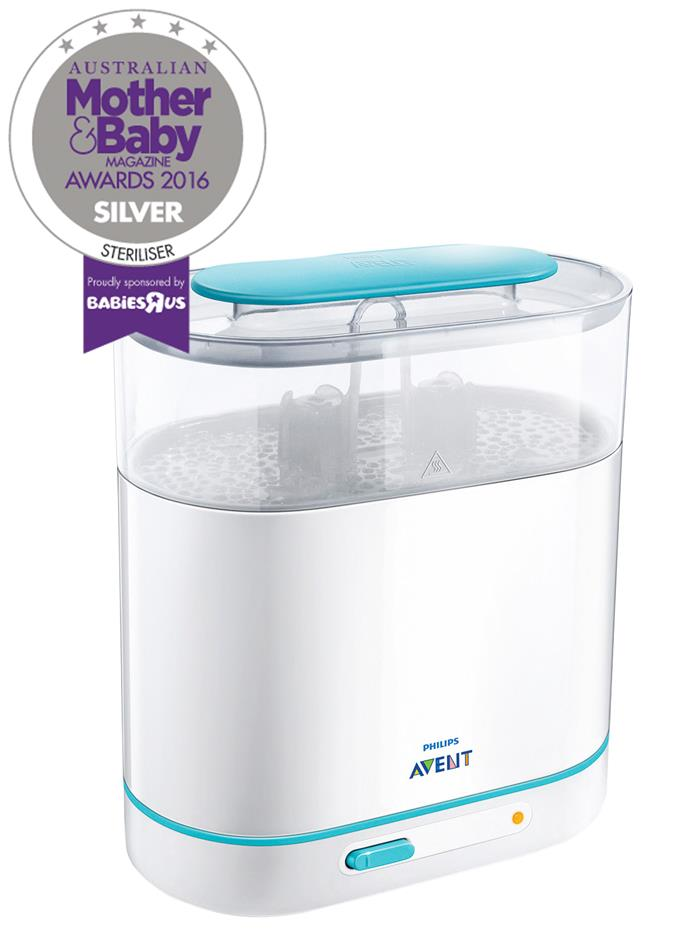 """CATEGORY: MOST POPULAR STERILISER. The [Philips AVENT 3 in 1 Electric Steam Steriliser](http://www.philips.com.au/c-m-mo/philips-avent-and-your-baby/ target=""""_blank"""") RRP $139.95 sterilises in six minutes and has automatic shut-off for extra safety and less energy consumption."""