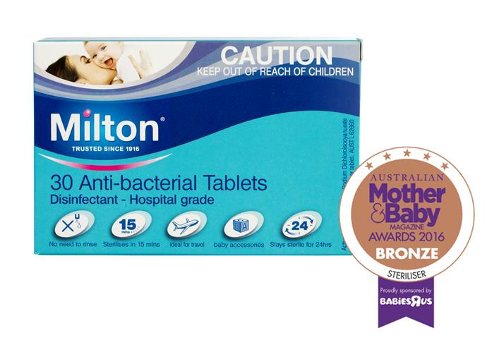 """CATEGORY: MOST POPULAR STERILISER. Mix [Milton Antibacterial Tablets](http://www.miltonbaby.com.au/ target=""""_blank"""") RRP $8.99 with water to create a sterilising solution that works in 15 minutes and is reusable for up to 24 hours."""