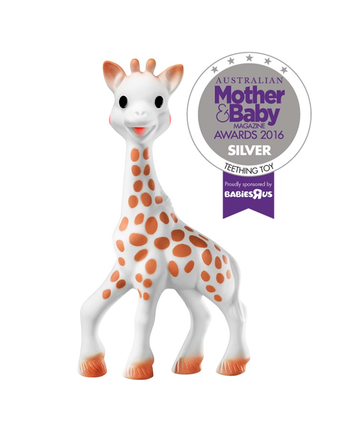 "CATEGORY: MOST POPULAR TEETHING TOY. [Les Folies Sophie la Girafe](http://www.lesfolies.com.au/|target=""_blank"") RRP $37.50 is flexible and made from renewable, natural materials and non-toxic paint."