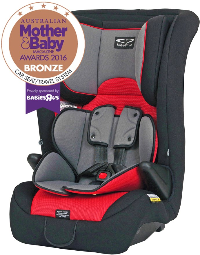 CATEGORY: CAR SEAT TRAVEL SYSTEM The Babylove EzyGrow harnessed car seat, RRP $319, is suitable for children from approx six months to approx eight years. The harnessed car seat is fitted with a padded liner for extra comfort. The large contoured side wings provide superior side impact protection.