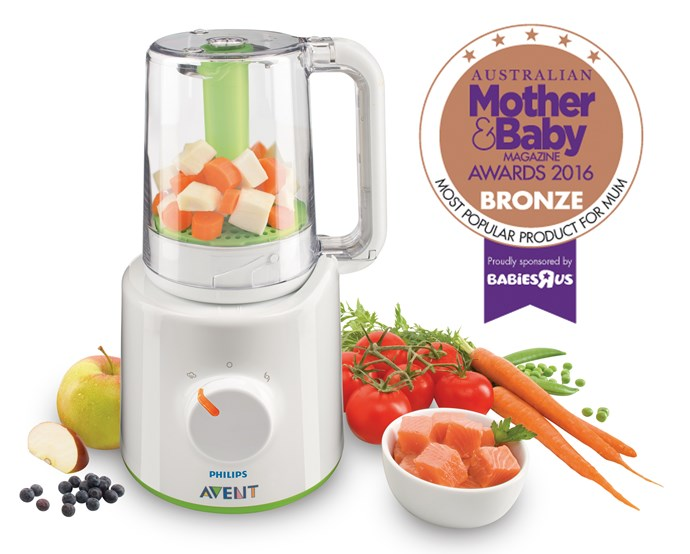 "Developed in co-operation with a paediatric dietician, the [Philips AVENT Combined Steamer & Blender](http://www.philips.com.au/c-m-mo/philips-avent-and-your-baby|target=""_blank""), $219.95, makes moving to solids a breeze. A fast and convenient way to prepare healthy, homemade baby meals without the hassle: simply steam fruit, vegetables, fish or meat then flip, blend and serve without having to transfer food."