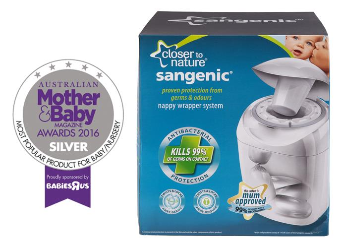 "[Sangenic](http://www.tommeetippee.com.au/|target=""_blank""), $50, is an innovative nappy disposal system that offers anti-bacterial protection from germs and odours, individually sealing each nappy away in seconds. The tub holds up to 28 nappies, conveniently storing nappies for fewer trips to the bin. The system is easy to set up, use and easy so you can spend less time changing and more time with baby."