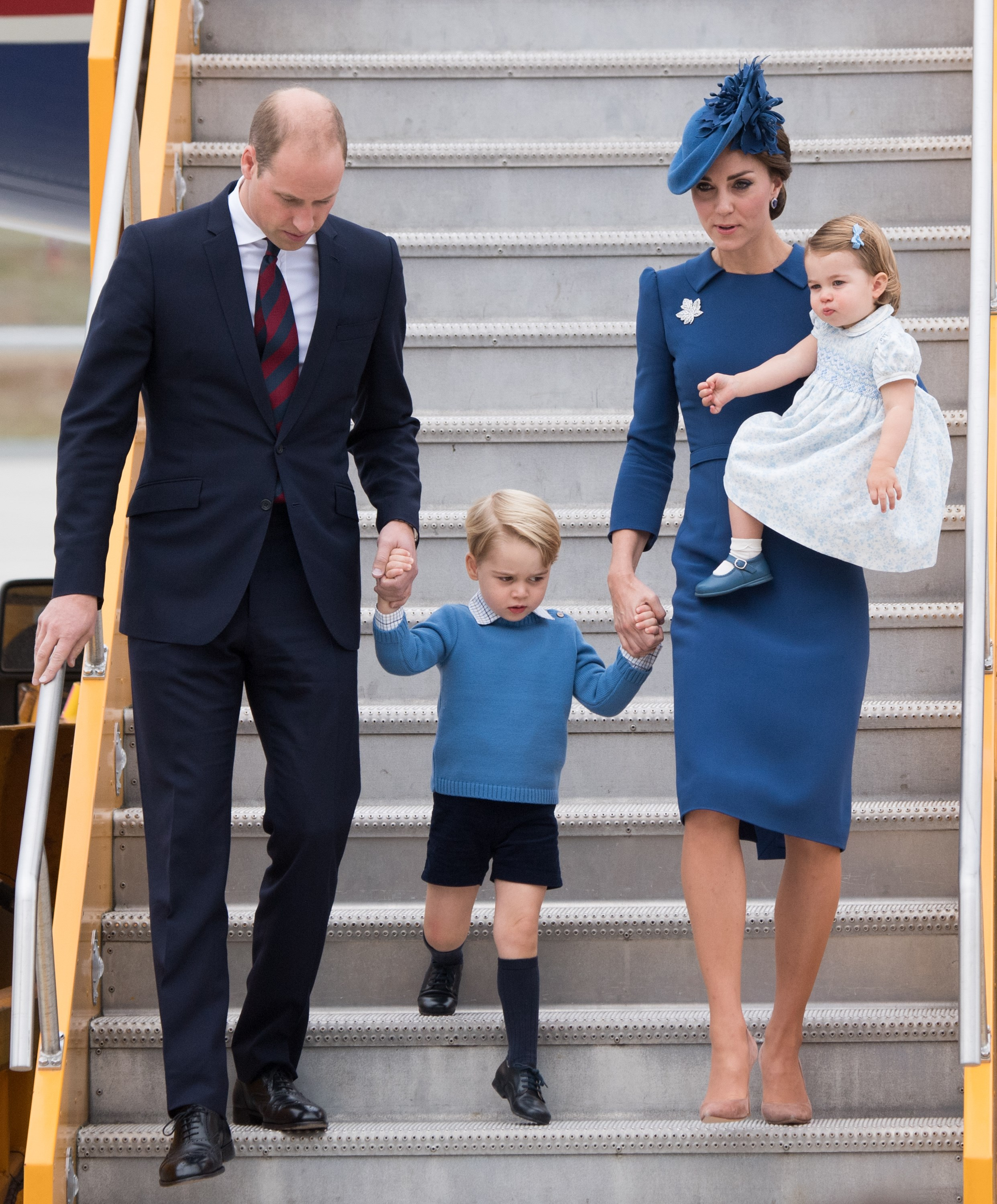 Stepping off the plane in Victoria for the beginning of the royal tour of Canada in September, Catherine chose a fitted blue Jenny Packham dress worn with a matching headpiece and a maple leaf brooch. To break the look up, she wore her favourite nude heels and carried a matching clutch bag – when she wasn't busy holding on to Prince George and Princess Charlotte, that is.