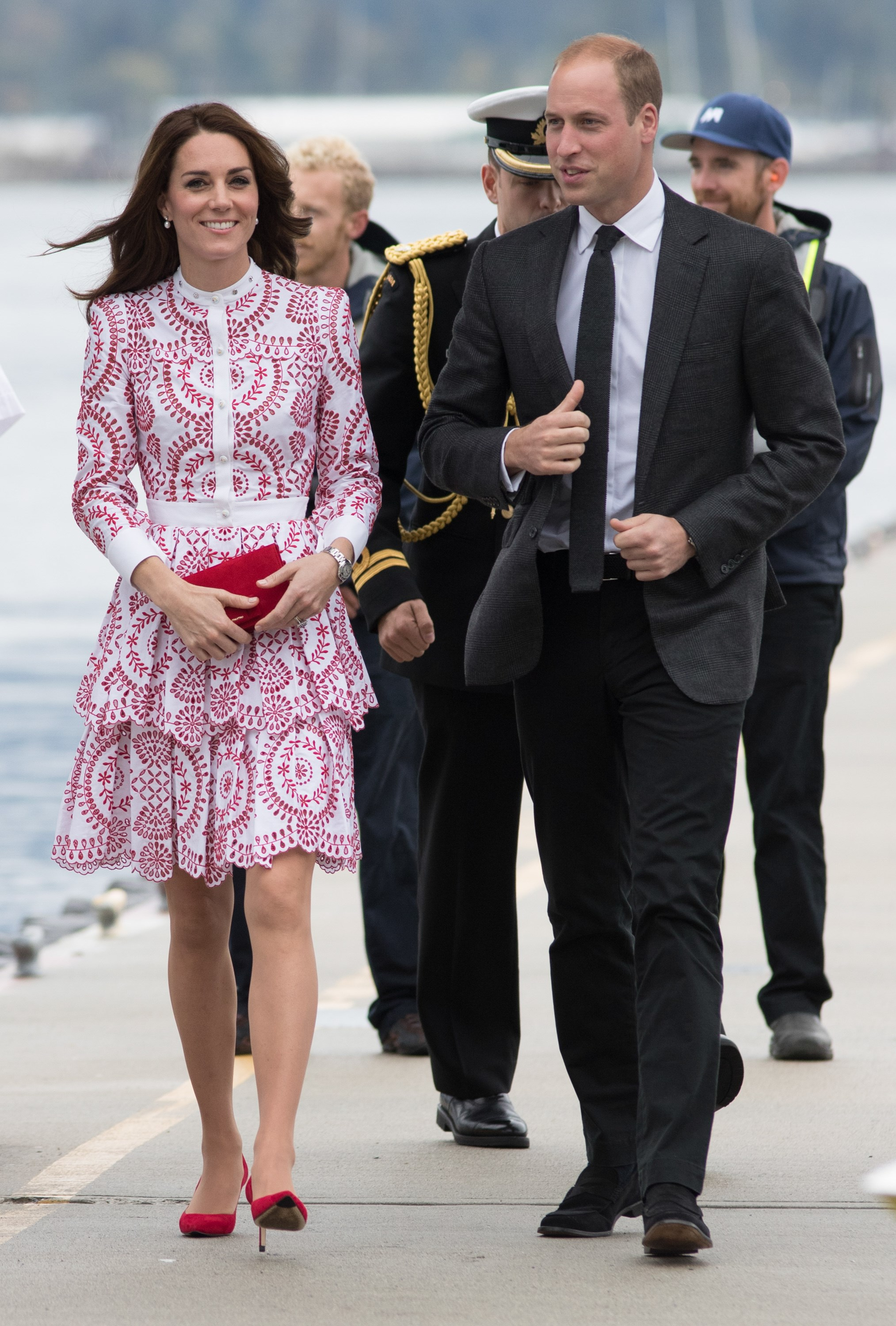 Kate's stunning $8,000 Alexander McQueen gown was a nod to Canada's red and white flag, and has quickly become one of her most talked-about looks so far. Paired perfectly with red shoes and a bag, this was a step away from her usually-favoured sleek silhouette, with a slightly fuller, shorter skirt. The button-up neckline kept things demure.