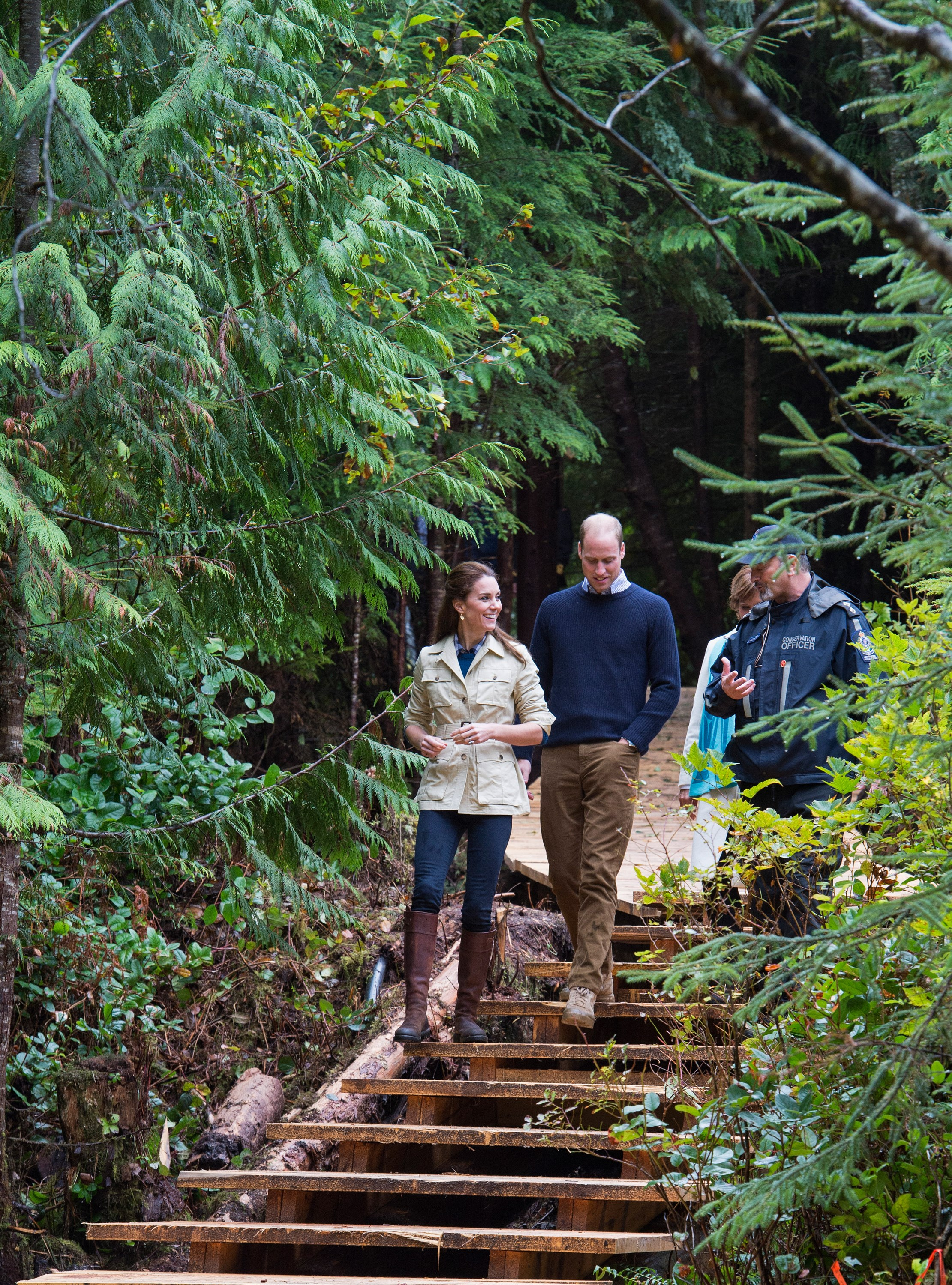 The Duke and Duchess spent a day exploring the natural beauty of Canada's Great Bear Rainforest, and Catherine looked just the part. Wearing jeans from Zara, her trusted Penelope Chilvers boots and a Holland & Holland safari jacket, she chatted animatedly about her surroundings.