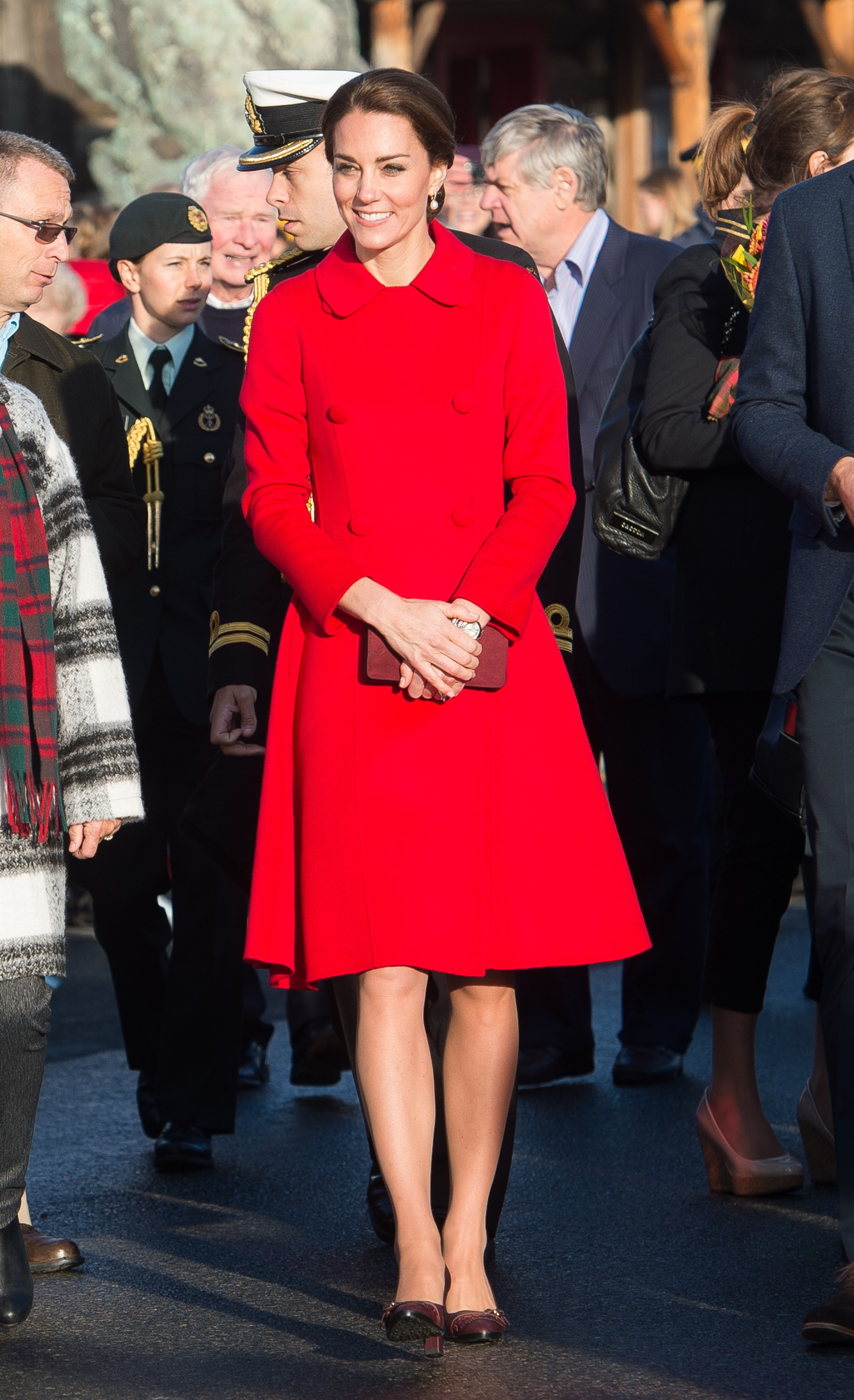 Catherine's stunning Carolina Herrera coat looked gorgeous paired with simple heels in September, as she and Prince William spent the fifth day of their royal tour in Canada day exploring the town of Whitehorse, where they sent a tweet in Morse code.