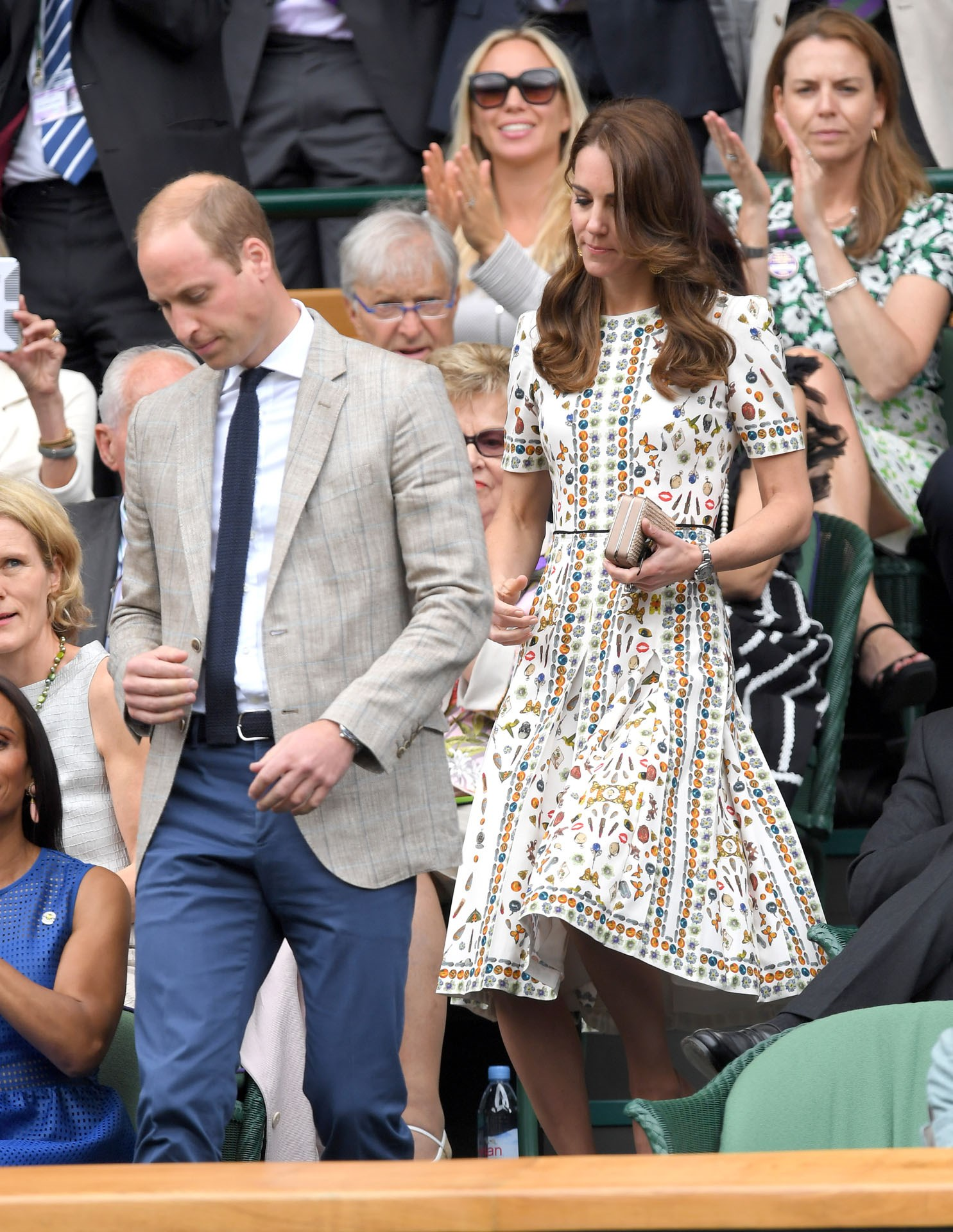 She's known for her love of sport, and can often be seen cheering on Andy Murray at Wimbledon, but this year the Duchess went all out with her style in a stunning $5,000 Alexander McQueen dress decorated with butterflies and jewels. She and William wore matching Ray Ban sunglasses – because the sun does occasionally make an appearance at Wimbledon!