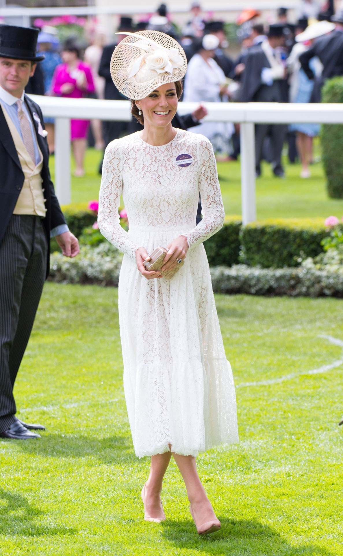 It was the Duchess' first ever visit to Royal Ascot, so there was no doubt she was going to show up in style, but no-one anticipated how stunning she'd look in this cream lace dress. The midi-length gown, by Dolce & Gabbana, was paired with a hat from Jane Taylor and her trusty nude heels.