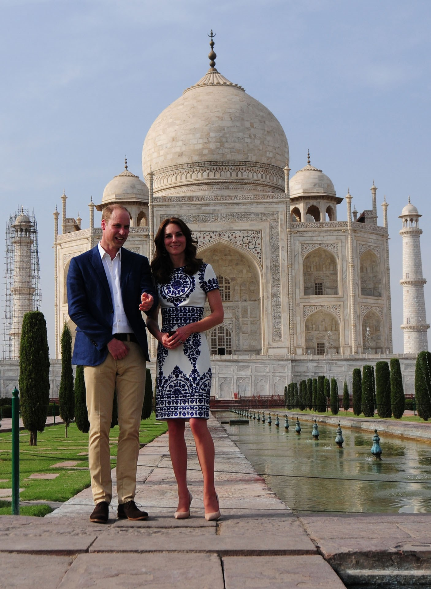 """The image of the Duke and Duchess of Cambridge at the Taj Mahal was only taken in April, but has quickly become iconic due to its similarity to the photograph of Prince William's mother, Princess Diana, taken in the same spot. The Duchess chose to stand out for the occasion, and wore a gorgeous dress """"planned months in advance"""" by Indian-American designer Naeem Khan."""