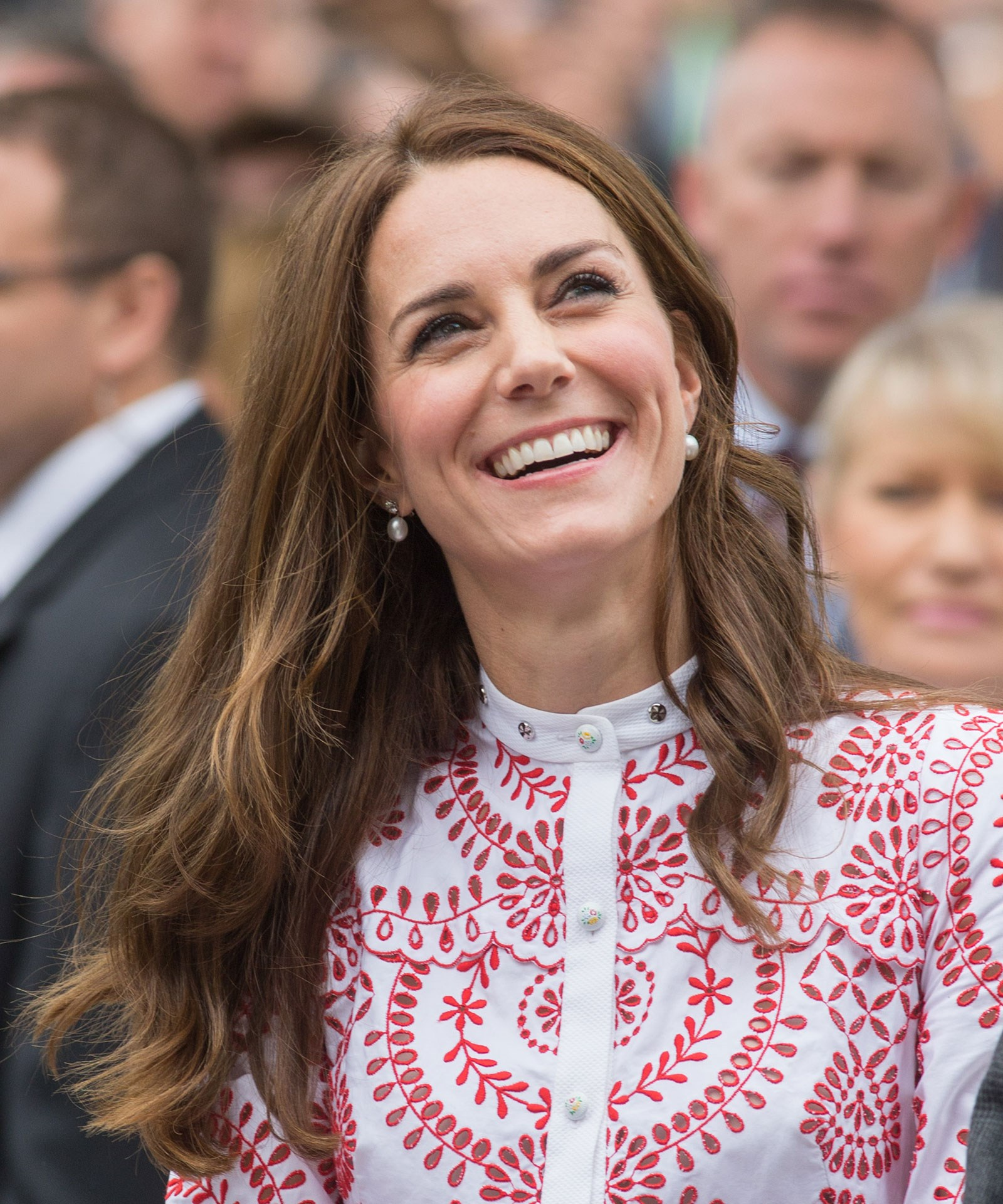 Kate's stunning Alexander McQueen dress was custom made for her, and adapted from a piece in McQueen's forthcoming Resort 17 collection. The stunning broderie detailing and unusual red and white colour palette makes this one of the Duchess' most talked-about outfits in recent months.