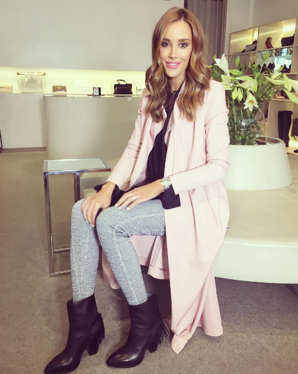 Bec's Dolce Firme boots and stylish pink coat make for a gorgeous autumn look