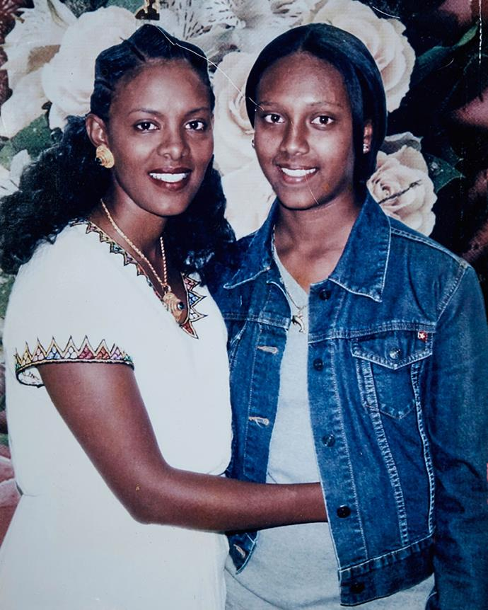 Yordanos Haile-Michael and her daughter, Niyat (right) after their reunion.