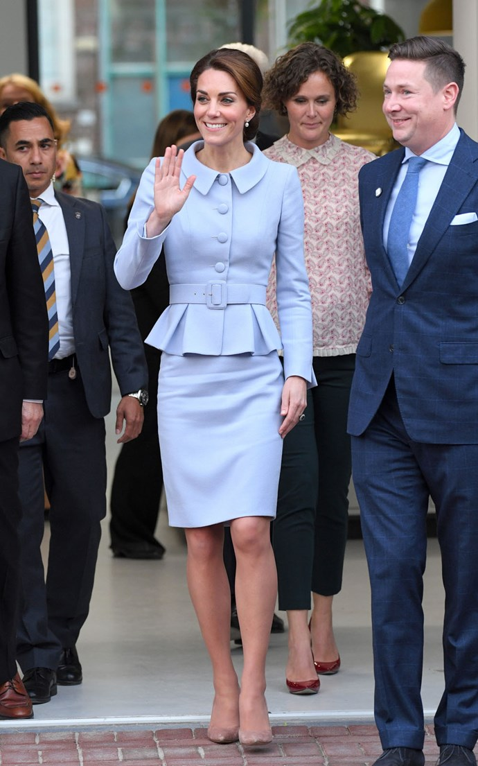 Kate touches down in the Netherlands.