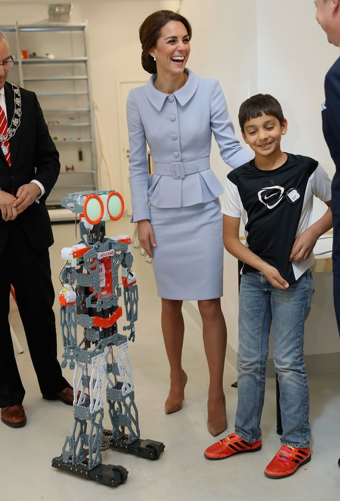 The Duchess of Cambridge attends a robotics class at Bouwkeet.