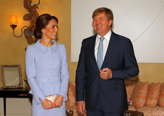 Catherine, Duchess of Cambridge meets King Willem Alexander of the Netherlands at Villa Eikenhorst.
