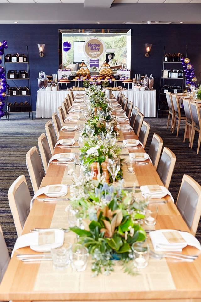 The long tables were styled in natural tones to complement the lavish purple and gold theme created by The Party Parlour.